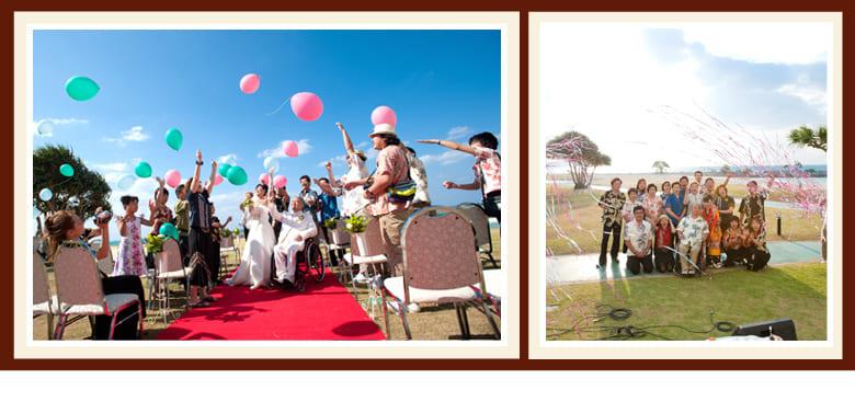 沖縄結婚式(かりゆしウェディング)記念写真を2010年11月26日02。