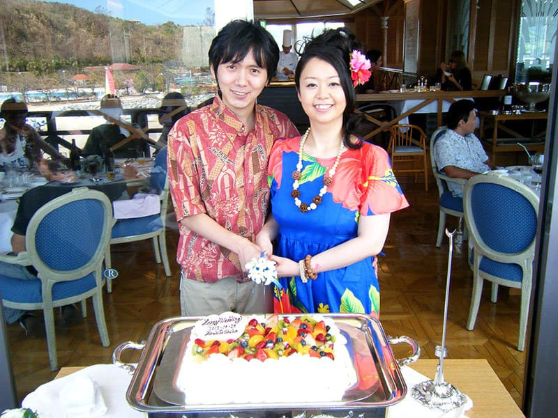 新郎新婦 沖縄結婚式 ルネッサンス・リベーラ教会 かりゆしウエディング