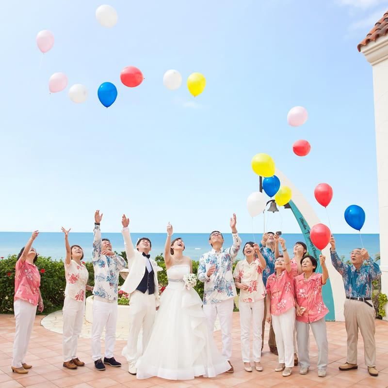 沖縄結婚式 男女おそろい かりゆしウエディング