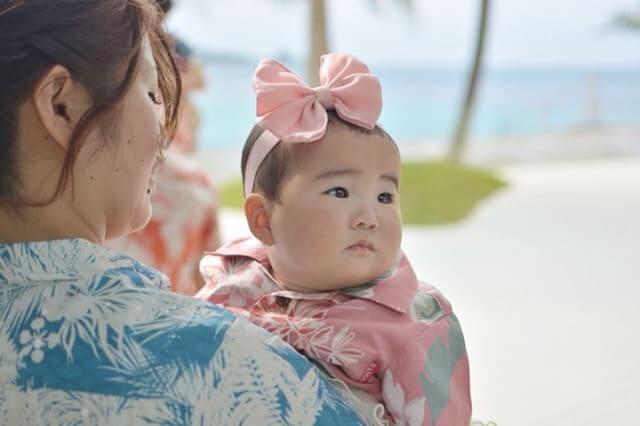 沖縄結婚式 大きいリボン かりゆしウエディング