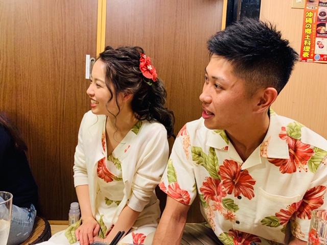 沖縄結婚式 新郎新婦の二次会コーデ かりゆしウエディング