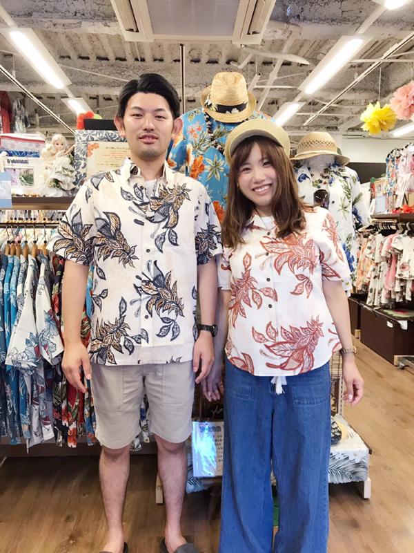 柄シャツコーデで沖縄観光
