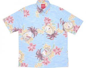 パインユリ風景ライトブルー/ボタンダウンシャツ