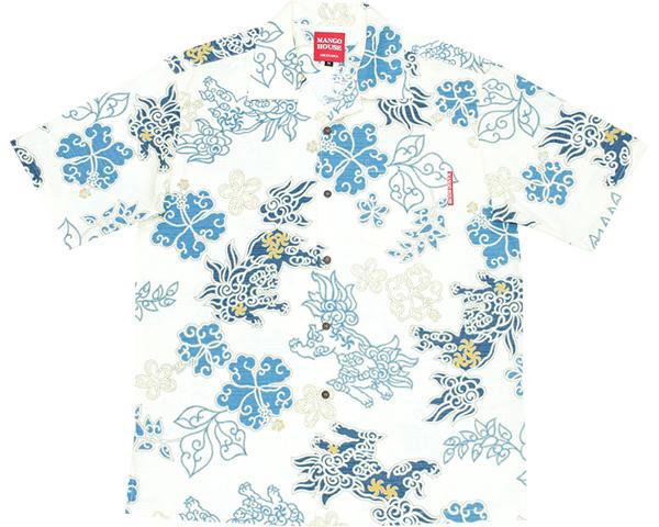 沖縄アロハシャツ和柄シーサーハイビー