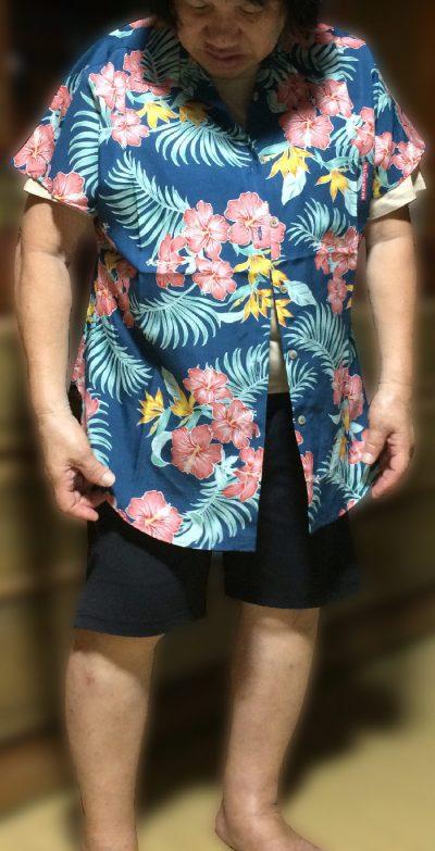 4Lサイズレディース用大きい沖縄アロハシャツ(かりゆしウェア)